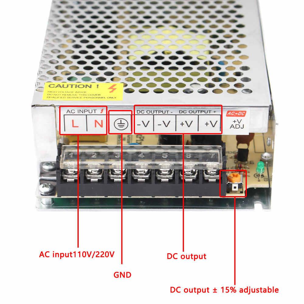 Transformateurs d'éclairage DC 5V 12V 24V 36 V Alimentation Adaptateur 5 12 24 36 V 1A 2A 3A 5A 6A 8A 10A 15A 20A LED Conducteur LED Bande De Laboratoire