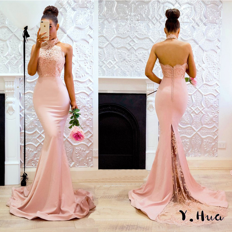 2019 Mermaid   Evening     Dresses   Sexy Sleeveless Halter   Dress   Package Hip Prom Party Gowns Open Back Pink Robe De Soire Y.Hua 823