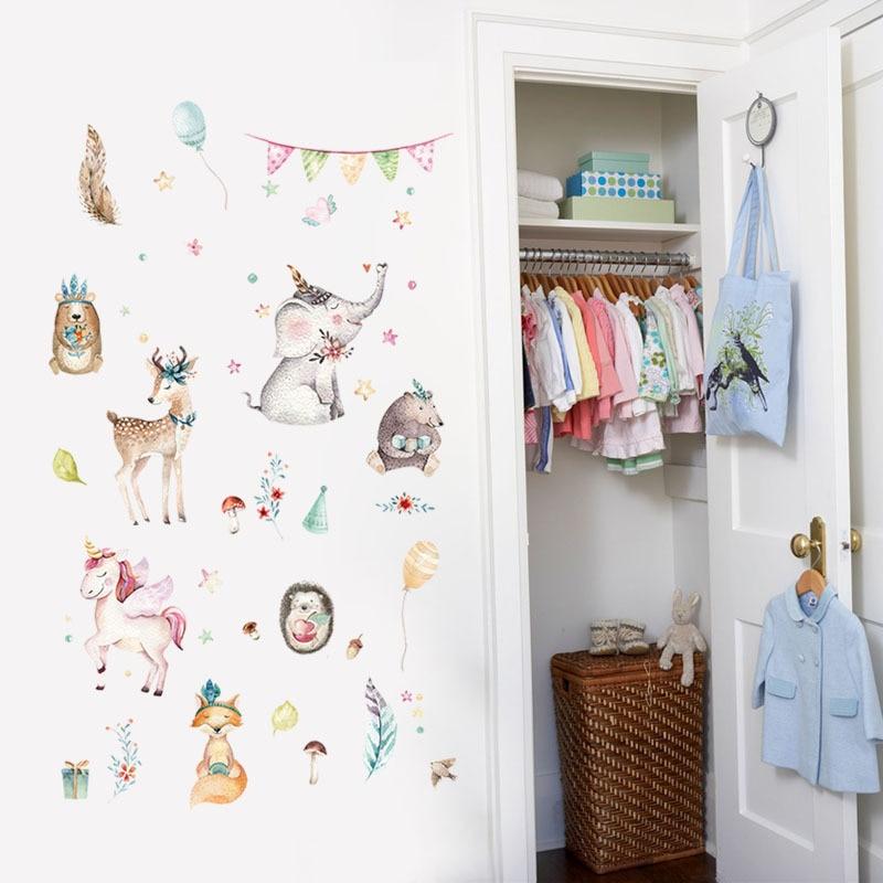 Jungle Animals Horse unicorn Fox  Elephant Rhinoceros Pvc Wall Stickers For Kids Rooms Baby Home Decor Cartoon Decals