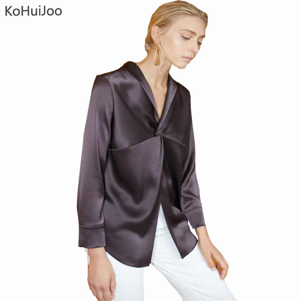 3290fa21915 KoHuiJoo 2019 New Fashion Runway Blouses Women High Qualiy Elegant V Neck  Office Ladies Bow Tie