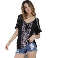 LOSSKY 2017 Summer Women Casual Loose Print Off Shoulder Tops Female T Shirts Short Sleeve V