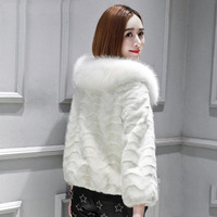 Wave cut natural mink fur coats outerwear women white color real fox fur collar real fur jackets for bride bridesmaids wedding