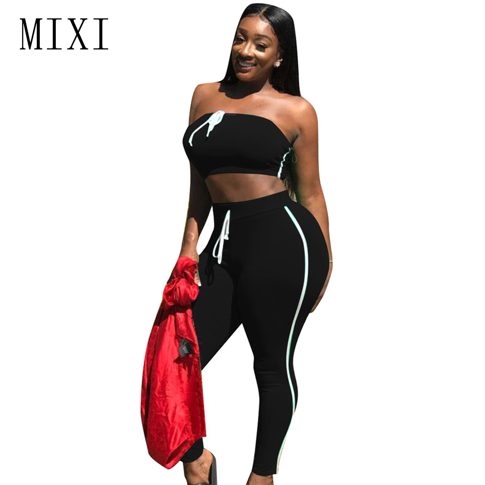 MIXI Summer Casual Rompers Womens Jumpsuit Two Piece Strapless Crop Top Bandage Skinny Jumpsuit Club Bodysuit Overalls Playsuits