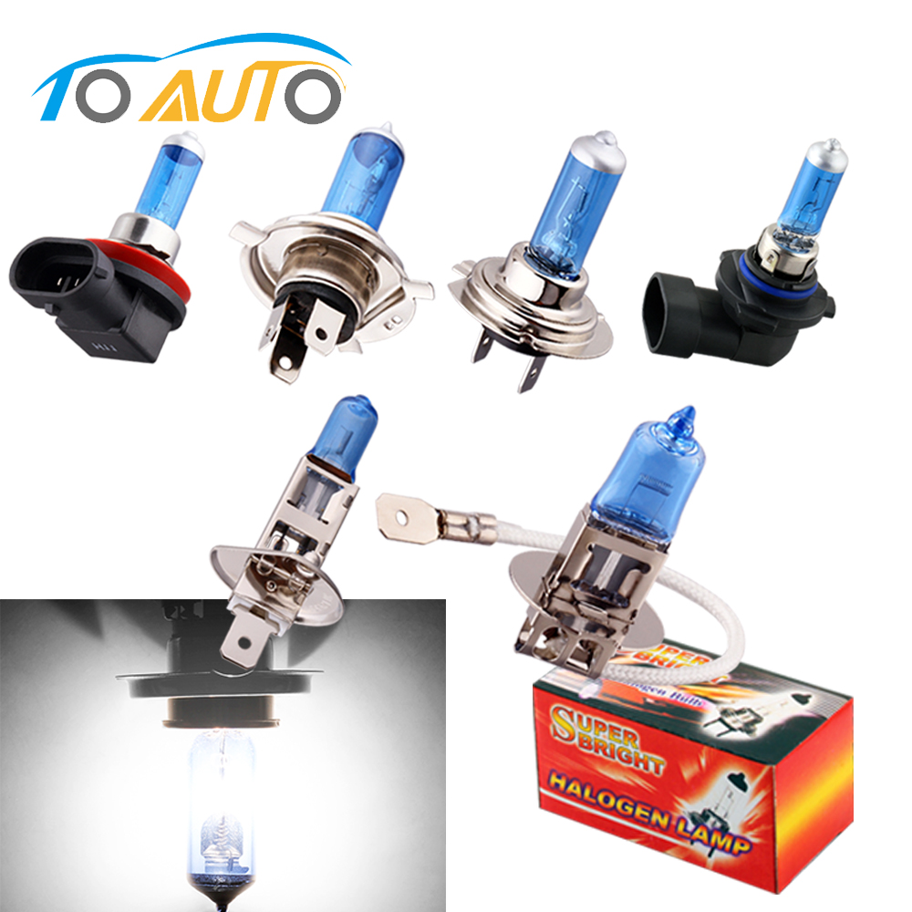 H1 H3 H4 H7 H8 H9 H11 9005 HB3 9006 HB4 Halogen Bulbs 55W 12V Super Bright White Car Lights 6000K Auto Lamp