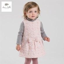 DB3982 дэйв белла осень девочка сладкий розовое платье жилет платье
