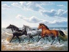 Borduurwerk Geteld Borduurpakketten Handwerken Ambachten 14 ct DMC DIY Arts Handgemaakte Decor Paarden Galopperen