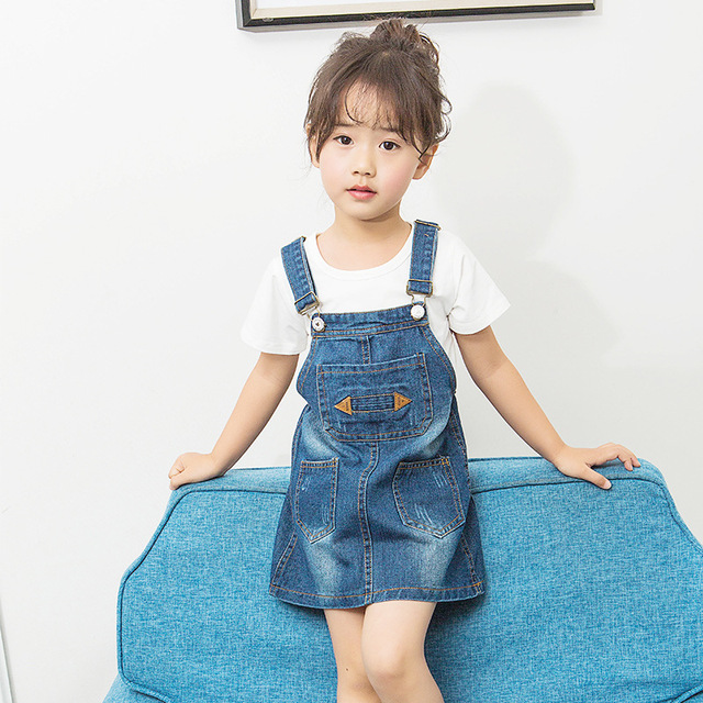 0102fc04a12c0 Cute Children Girls Denim Dress Overalls dress 2017 Summer Casual Style Kids  Girl Denim dress Straps High Quality Kids Clothes