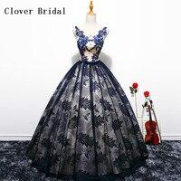 כחול כהה וירוק כדור שמלת נסיכת Quinceanera שמלות נשף מתוק 16 שמלות נשף שמלות Vestidos דה Quinceañeras