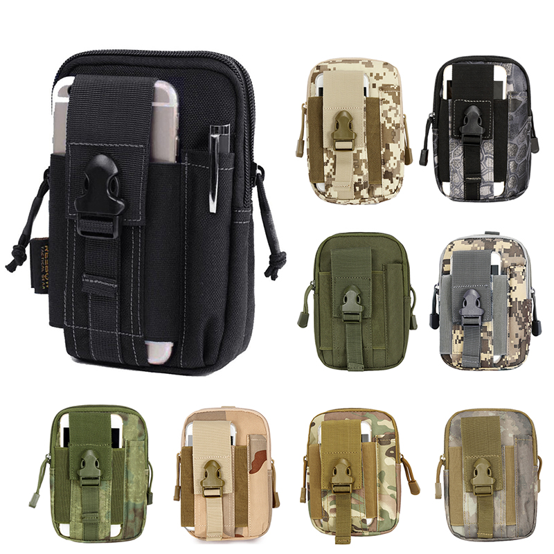 Multifunktions EDC Security Pack Bär tillbehörssats Blowout Pouch Belt Waist Bag Nylon Tactical Pack för Camping Vandring Resor