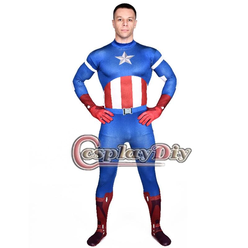 Captain America Costume Adult Men Bodysuit Adult s Halloween Zentai Suit Superhero Cosplay Costume D0806