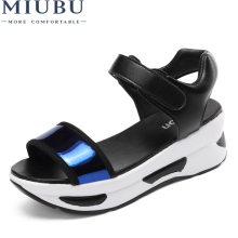 MIUBU 2019 New Summer Women Sandals Wedges Shoes Woman Shinny Crystal Decoration Elegant Ladies Platform