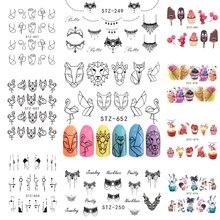 Наклейка на ногти Водная передача Переводные картинки для ногтей маникюр дизайнерские наклейки для ногтей дизайны клейкие стикеры 3D на ногти Nail Art художественные украшения
