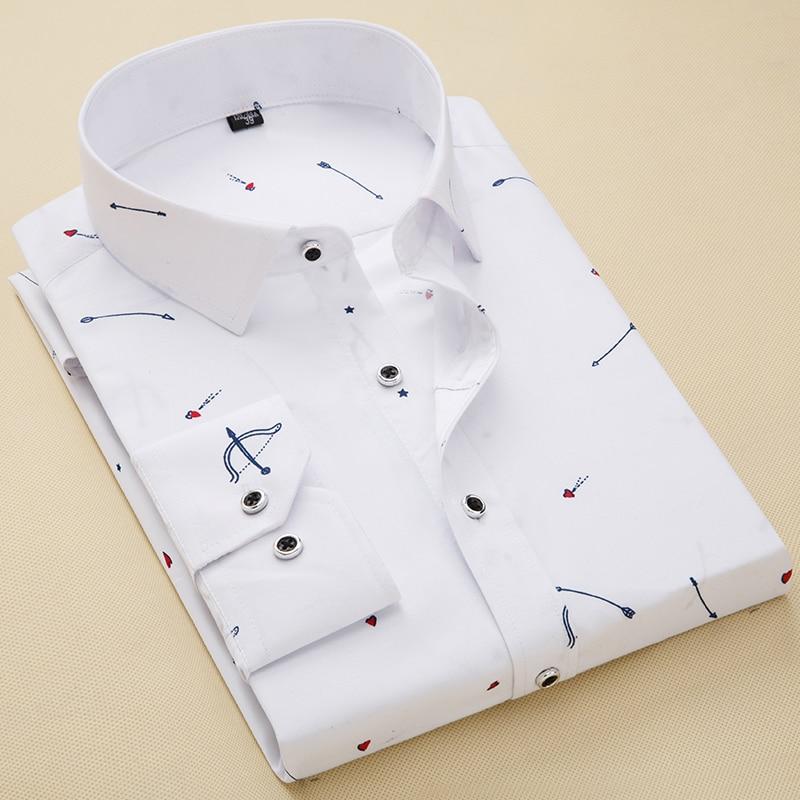Camisas de vestido dos homens Slim fit 2019 Dos Homens camisas Casuais de Manga Comprida Impressão Outono Camisa Nova Moda Masculina Camisas Sociais masculina