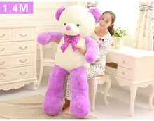 large new creative purple&white Teddy bear toy plush big lovely bow bear gift doll about 140cm