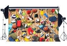 Sport Apparatuur Achtergrond Basketbal Achtergronden Amerikaanse Voetbal Houten Plank Stadion Achtergrond