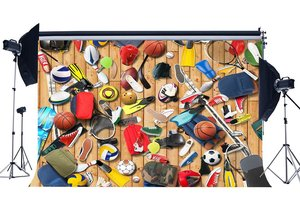 Image 1 - Sports Equipment Backdrop Basketball Backdrops American Soccer Wood Plank Stadium Background