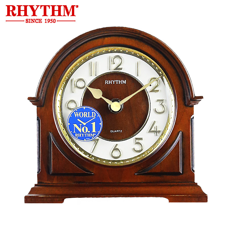 RYTHME Marque Rétro style En Bois Horloge De Bureau Silencieux Mouvement À Quartz 3D Chiffre bedstand Table Horloge Vente-Vendeur Délicat et petit