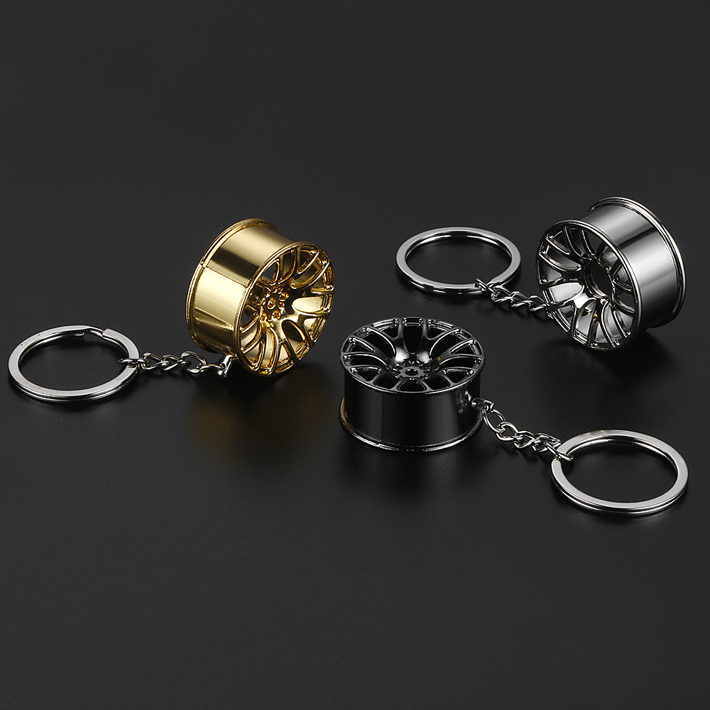 Fashion Metal Wheel Rim Model Mini Tyre Car Keychain Keyring Creative Auto Part Model Mini Wheel Rim Tyre Key Chain Ring Holder mini kompas sleutelhanger