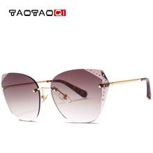 купить TAOTAOQI Luxury Cat Eye Sunglasses Women Designer Brand Fashion Rimless Rhinestone Sun Glasses Female UV400 Vintage Eyewear недорого