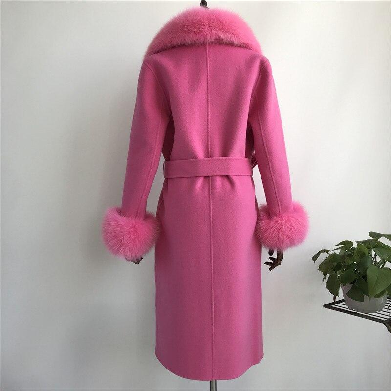 Las mujeres abrigo de cachemir con cuello de piel de zorro chaqueta de lana con cinturón invierno otoño Slim dama 2018 largo abrigo de las mujeres abrigo de lana - 5