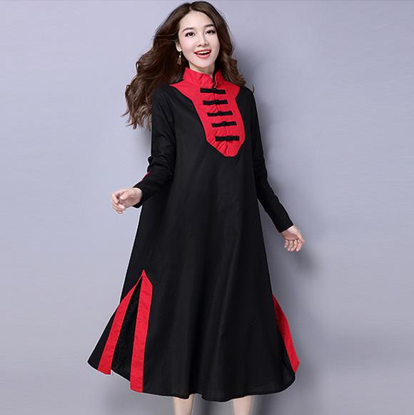 75fe406eb2 Clobee Cotton Linen Patchwork Women Dress Vintage Elegant Ethnic Ladies  Dresses Loose Chinese Style Long Button Vestidos V455-in Dresses from  Women s ...