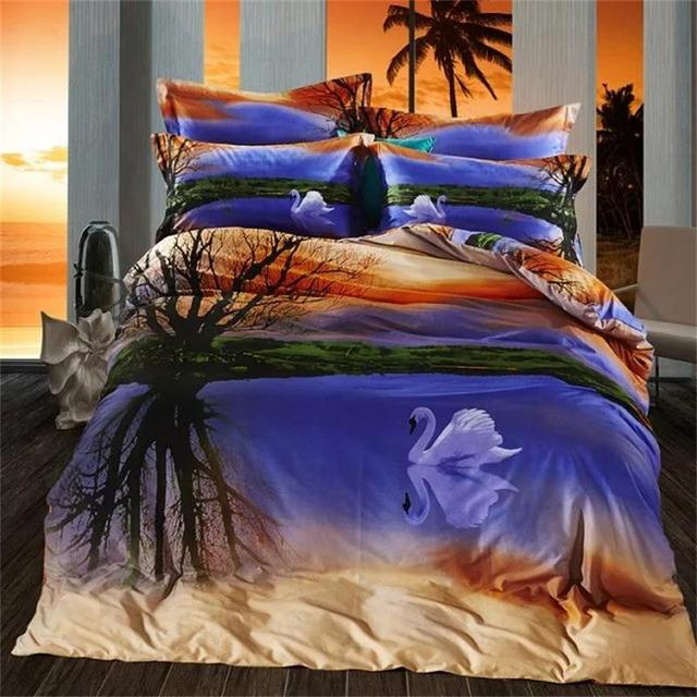 Superior Sunset Glow Swan Lake 3D Scenic Bedding Set Queen Size 100% Cotton Bed  Sheets Pillow