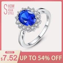 8e9dad3705e47 CZCITY Princesa Diana William Kate Noivado Casamento Anéis de Diamante Azul  Safira 925 Prata Esterlina Anel