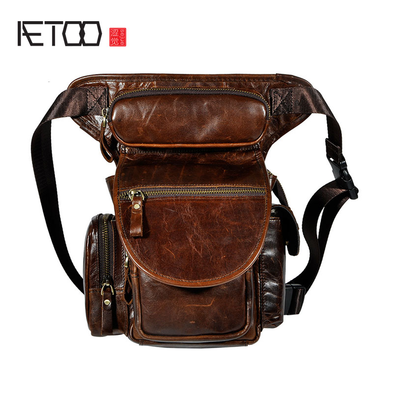 AETOO First layer of oil wax leather leather retro men tide cool phone camera leg bag pockets male package