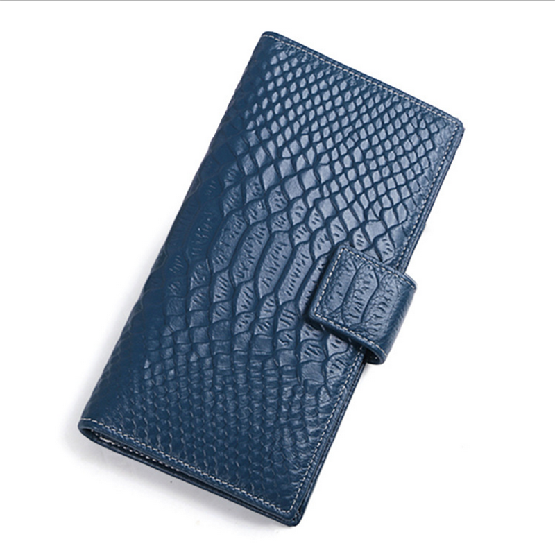 все цены на  New Fashion Women Wallet  Genuine Cow Leather Crocodile Pattern Long Wallet  Money Clip Purse