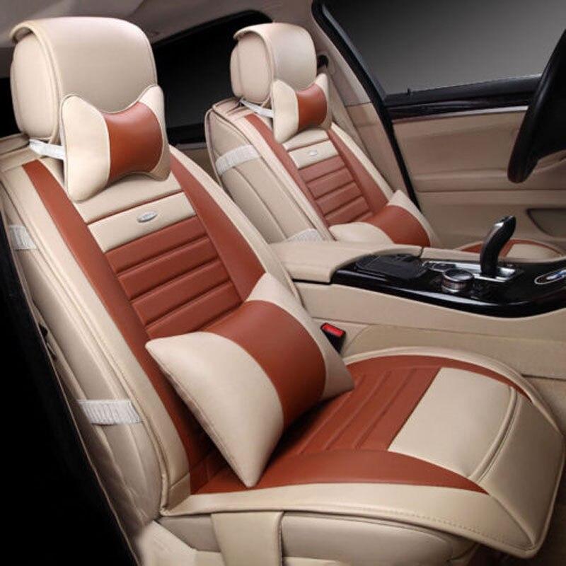 Автомобиль полный набор сиденья из искусственной кожи спереди и сзади 5 Стульчики детские W/Средства ухода за кожей Шеи поясничного подголо