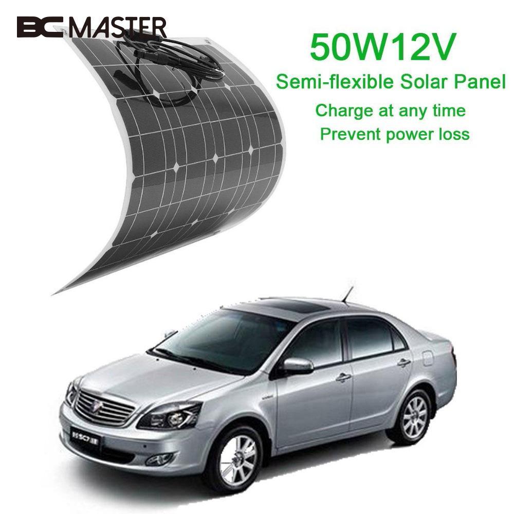 BCMaster High quality efficiency 12v 50w Sunpower Soft Semi Flexible Solar Panel Monocrystalline solar battery cells on sale