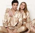 2016 Del Otoño Del Resorte de Las Mujeres de Los Hombres Pareja Pijamas Cardigan de Manga Larga de Encaje Sexy ropa de Dormir de Lujo Elegante Mujer Homewear JA5022