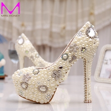 Wholesale Best Quality Amazing Elegant White Ivory Pearl Party Prom Shoes Hot Sale Evening Stiletto Bridal Wedding Shoes