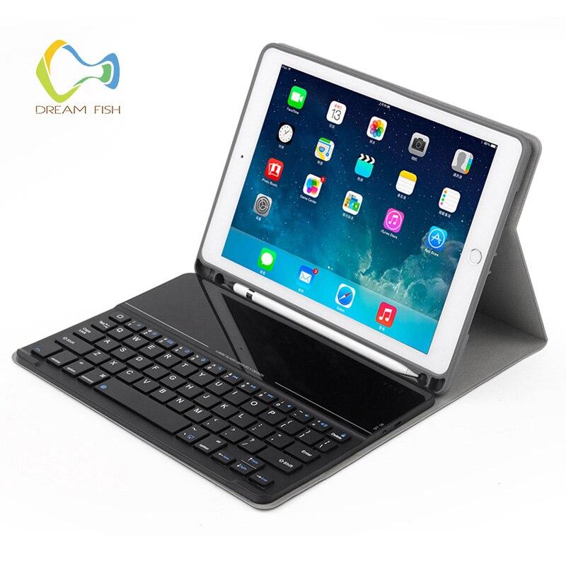 Coque de protection pour iPad 2018 étui détachable lunettes Bluetooth clavier avec porte-crayons en cuir PU Smart Holder pour pochette iPad