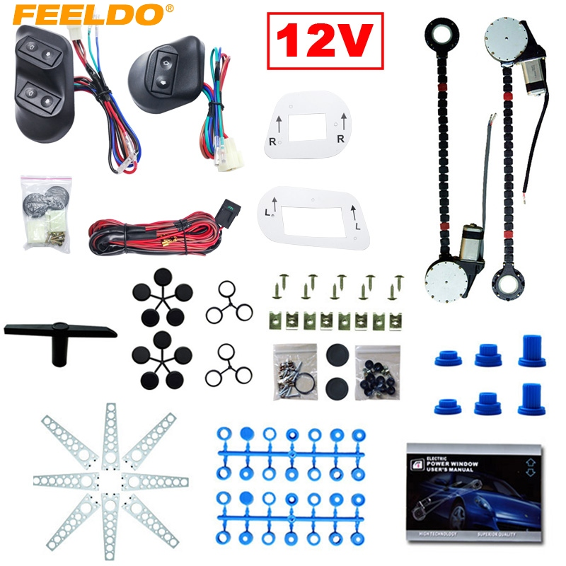 MOTOBOTS 1Set DC12V Universal 2Doors Electric Power Window Kits With 3pcs/Set Switches & Wire Harness #FD3884