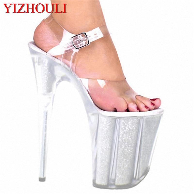 20cm ultra high heels crystal sandals 8 inch women silver wedding shoes pole dancing shoe Unusual High Heel Shoes 15cm ultra high heels sandals ruslana korshunova platform crystal shoes the bride wedding shoes