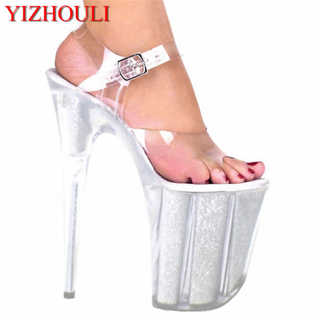 68e9707e6c5 US $82.0 |20cm ultra high heels crystal sandals 8 inch women silver wedding  shoes pole dancing shoe Unusual High Heel Shoes-in High Heels from Shoes ...