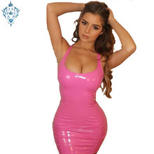 Ameision Sexy PU Leather Bodycon Dress 2019 Summer Women Sleeveless Low Cut Back Zipper Elastic Mini Dress Party Club Dresses criss back low cut printed cami dress