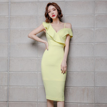 Plus Size Women Ruffles Corset Bodycon Wrap Dress Sheath Summer Sexy 2019 Robe Longue Short Sleeve Yellow
