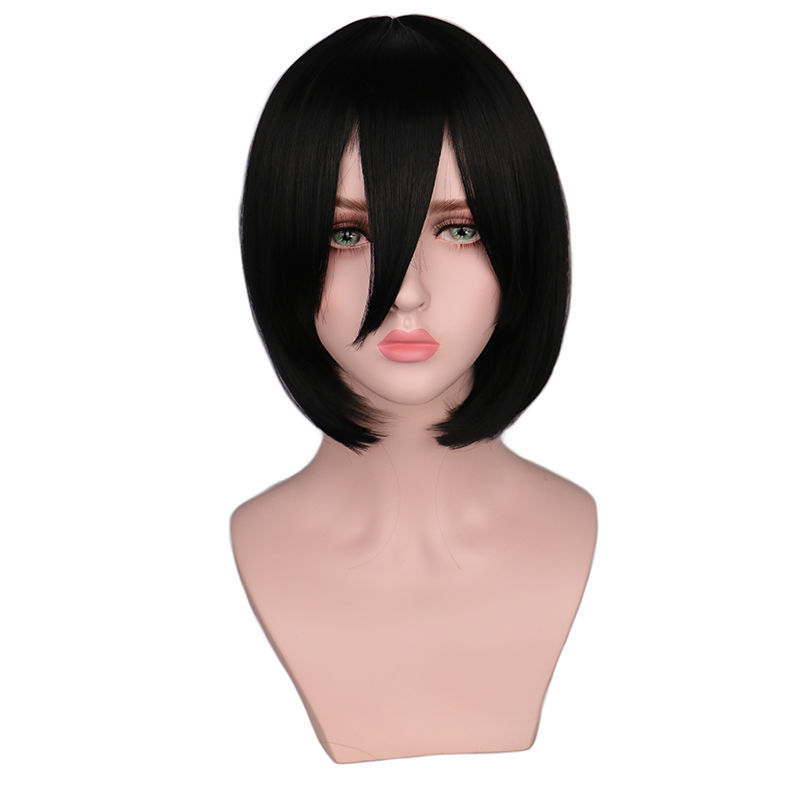 QQXCAIW Short Straight Attack on Titan Cosplay Wigs Mikasa Black Heat Resistant Synthetic Hair Wigs