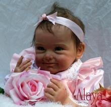Muñeca bebé con boca magnética y medidas de 22pulg 55cm, juguete de regalo con aspecto natural de silicona suave para los niños, rosa , flor