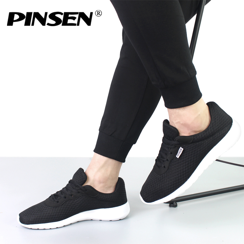 PINSEN 2018 Men Sneakers Fashion Summer Shoes Mens Lace-up Mesh Breathable Lover Man Casual Shoes zapatillas hombre 35-44