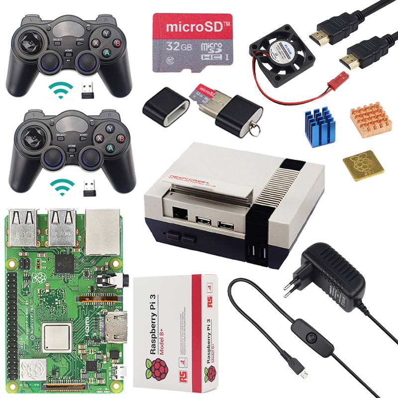 Unique Raspberry Pi three Mannequin B Plus + Case + Cpu Fan + 32G Sd Card + 2Pcs Wi-fi Gamepad + Energy + Hdmi Cable For Retropie