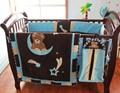 Naughtyboss bebé juego de cama de algodón 3D cielo bordado noche oso Sit en doble luna edredón parachoques colchón cubierta 7 unids marrón azul