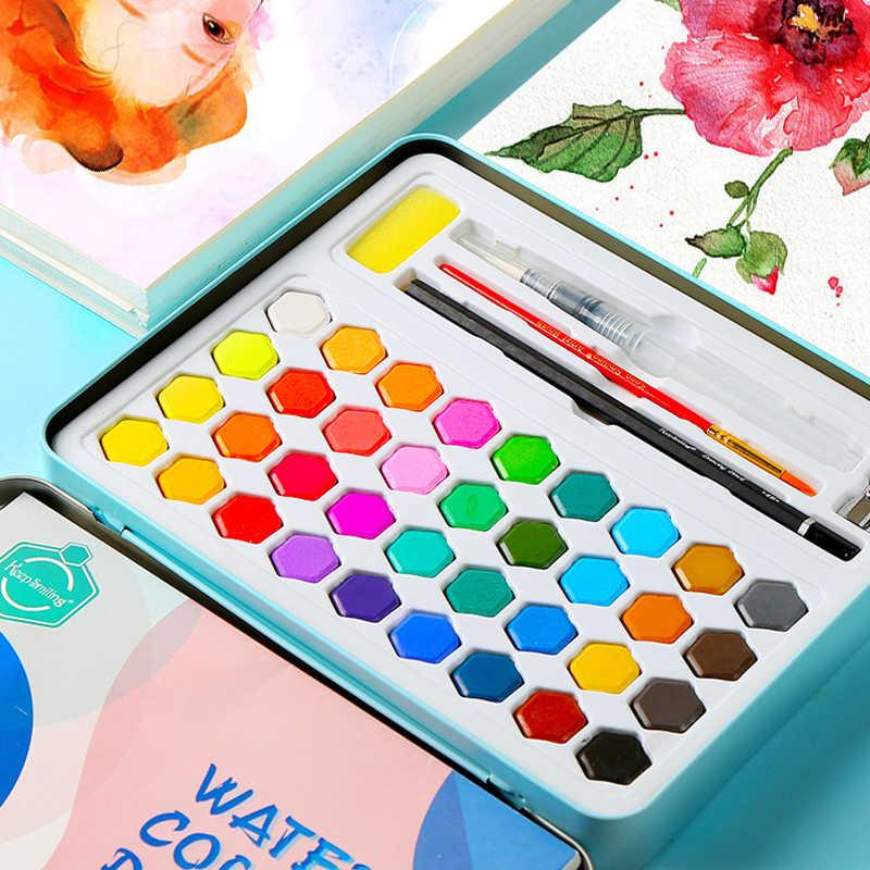 Juego de pintura de acuarela sólida de 36 colores caja de hierro cepillo profesional de Color agua pintura de arte portátil suministros de acuarela de regalo