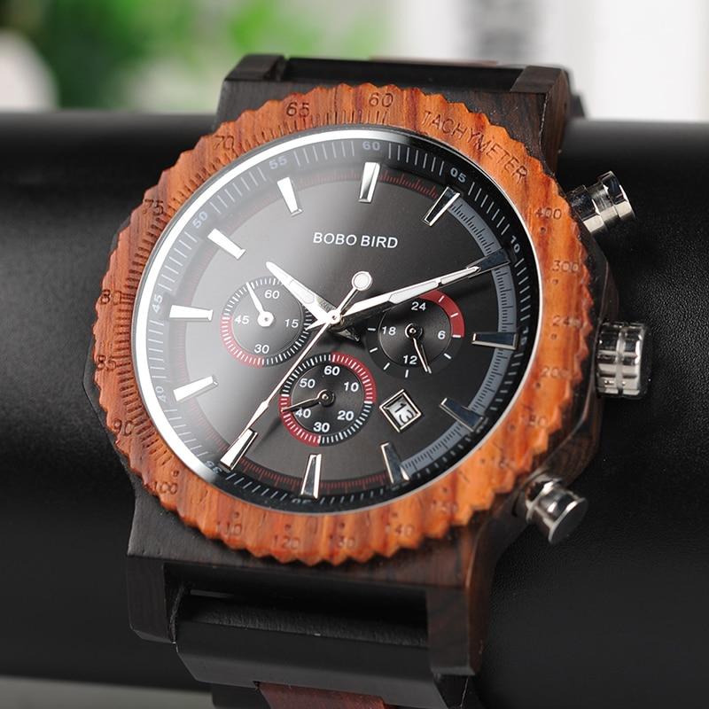 Relógio masculino tamanho grande 51 mm BOBO BIRD, relógio masculino de madeira e quartzo, relógio luxuoso melhor para presentes para o pai, reloj, mujer, aceite, logo