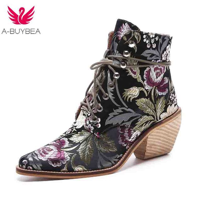 high heel ankle boots free shipping women shoes winter 2018 New woman embroidered boots botines mujer botte femme bottine Flower