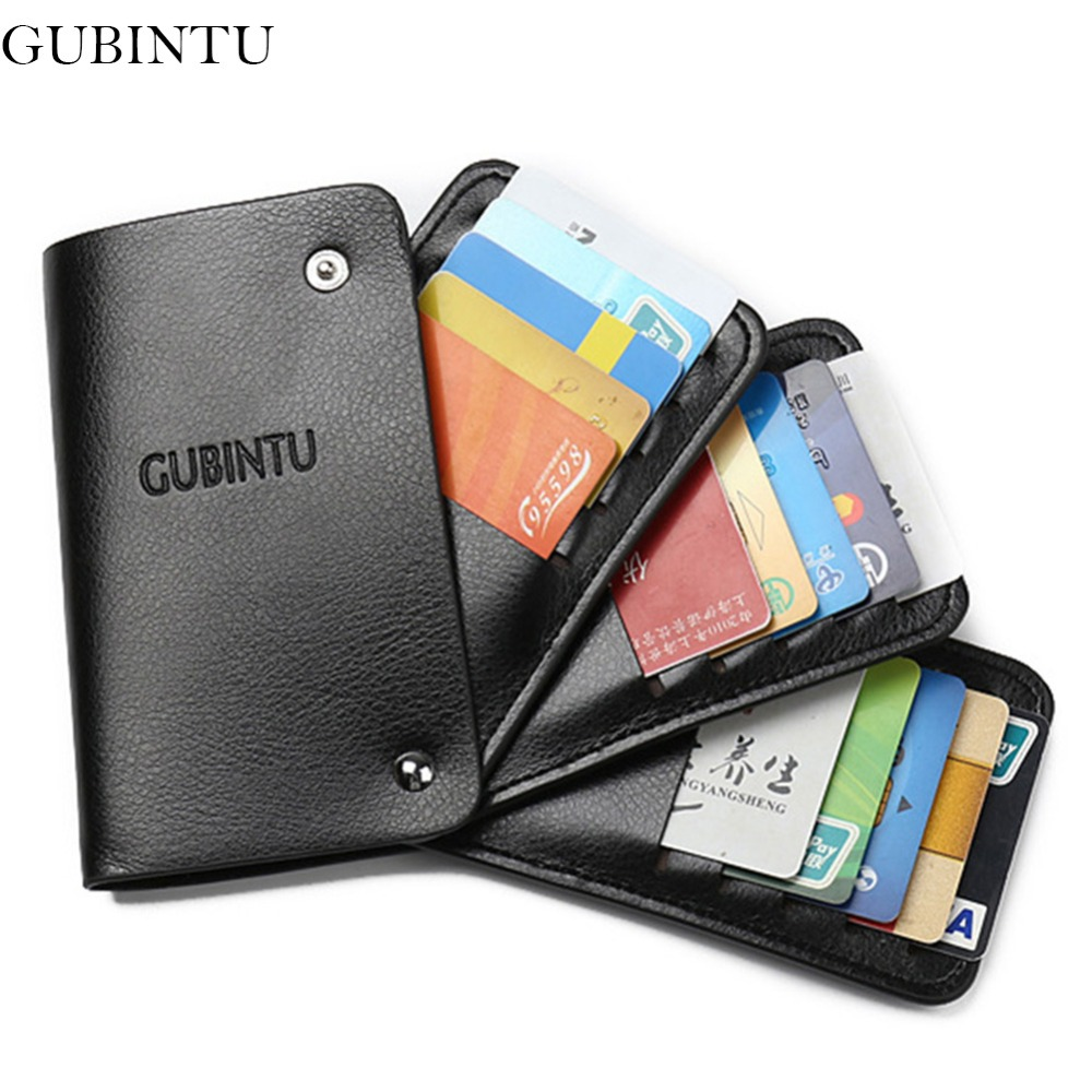 GUBINTU Leather Card Holder Wallets With 20 Card Slots