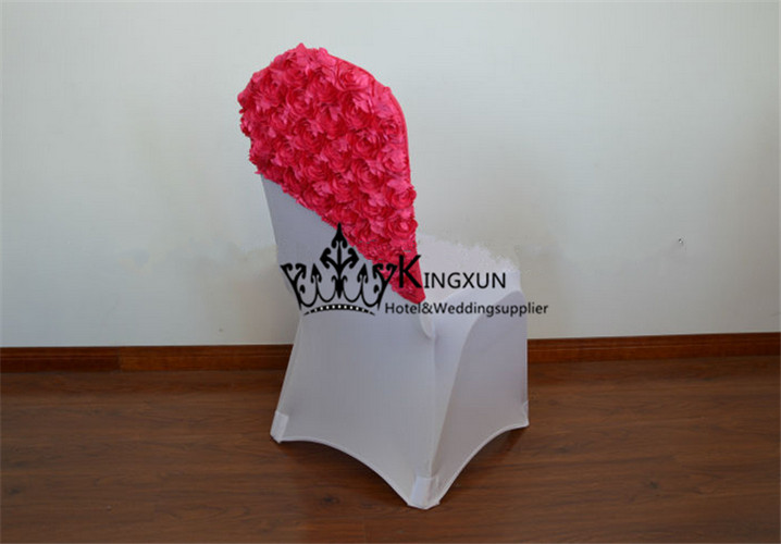 Fuchsia Color Spandex Satin Rosette Chair Cap  Chair Hood For Wedding Chair Cover