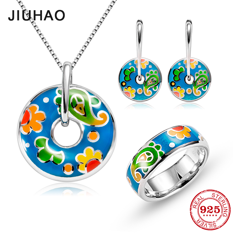 Jewelry set orange sunflower for women Authentic 925 Sterling Silver charms Fashion Rings pendant Earrings Party Enamel flower jewelry set pink rose jewelry enamel rings earrings pendant 925 sterling silver party fashion for women accessories